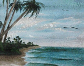 Cross stitch kit by Rosie Brown 'Paradise Island' modern cross stitch - Beach holiday