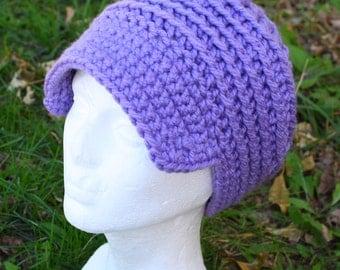 Chunky Crochet Hat with Brim in Lavender Women's Winter Hat Purple