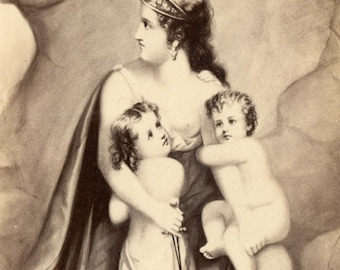 1860s - 1870s Antique CDV. Protective Mother and Her Children
