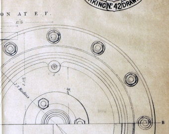 1871 Very Rare Poster-Sized Technical Drawing. Beam Engine, Luton Water Works.