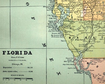1888 Antique Map of Florida