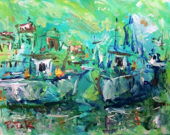 Original Impressionist Seascape Painting, Ocean Harbor with fishing boats in cove, Russ Potak