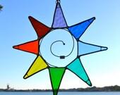 Rainbow Sun Stained Glass Suncatcher