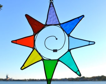 Rainbow Sun Stained Glass Suncatcher