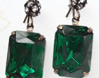 Birthstone Gift - May - Emerald Earrings - Art Deco -  MADELINE Emerald