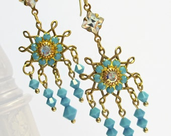 Chandelier Earrings - Turquoise Earrings - Statement Earrings - Art Nouveau Jewelry by Parisienne Girl - STARBURST Turquoise
