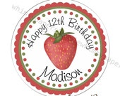 Strawberry Stickers, Birthday Party Labels, Round Glossy - Address Labels