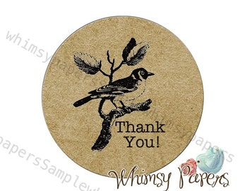 "Vintage Bird ""Thank You""  Labels - 1.75 Inch Round Labels - Set of 50"