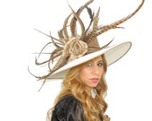 Paradise - Large Mink & Cream Formal Hat for Weddings, Races, Kentucky Derby