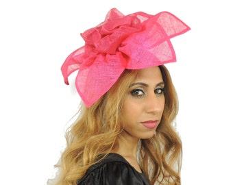 Hortensia Fuchsia Fascinator Hat for Weddings, Races, Kentucky Derby on a Headband (40 colours avail)
