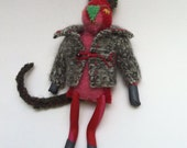 Scrap Cat- hand stitched pocket pal or lapel buddy made from recycled, felted wool