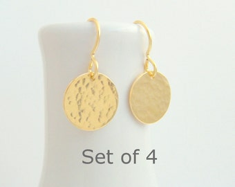 """bridesmaid earrings. SET OF 4. small gold dangle. hammered circle drop. 14k yellow gold filled. wedding jewelry. simple bridal gift. 1/2"""""""