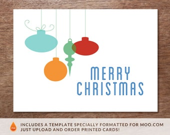 Printable Christmas Card - Instant Download Christmas Card - Hanging Ornaments - Print at Home Christmas Card - DIY Christmas Card PDF