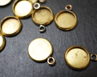 Raw Brass Round Cabochon Setting Flat Bezel Disc Pendants - 12mm with 10mm Recess Area - 10 pcs