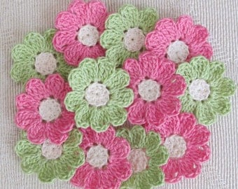 Pink and Green Small Crochet Flowers for Scrapbooks or Sewing, 12 Handmade Appliques