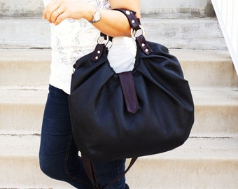 Black leather pleated front satchel in large sized versatile messenger and backpack purse - Black & Brown two toned