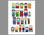 South Park Pixel People Character Cross Stitch PDF PATTERN ONLY