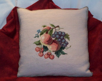 Needlepoint Della Robbia Pillow  Friut Style
