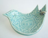 Mother of the bride or groom gift - wedding gift for mom - Mothers day gift - bird ring holder ceramic pottery