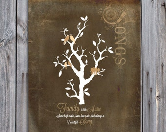 Custom Family sign Gift for Parents GIft for Grandparents Tree with grand birds Personalized Family Tree Sign personalized gift for grandma