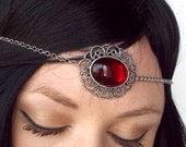 Renaissance Circlet in Silver and Ruby Red