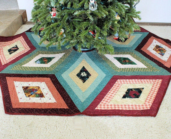 Country Plaid Christmas Tree Skirt Quilt Rustic Primitive