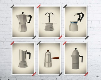 Set of Six MINI prints Vintage Italian coffee makers 5x7 kitchen home decor coffee lovers