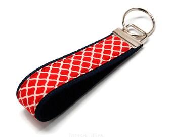 Dark Red Quatrefoil Fabric on Navy Blue Webbing Key Fob Keychain
