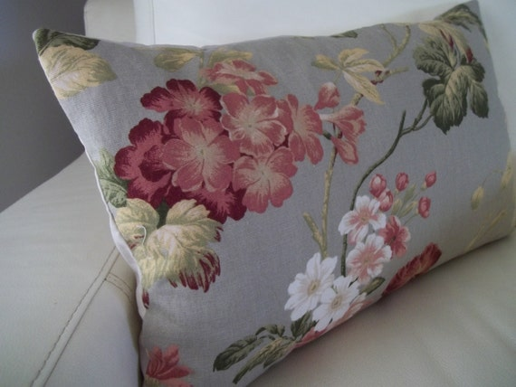 Lumbar Pillow Cover 12 x 20 Shabby Chic Floral by CottageDayDreams