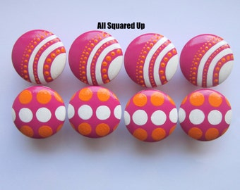 Set of 8-Bright Pink-Orange-White hand painted Drawer Knobs