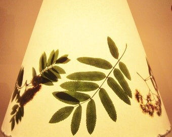 Rowan Lamp Shade, Botanical Lampshade, Pressed Rowan Leaf and Flower, Mountain Ash, Sacred Tree Wood, Wicca, Pagan, Druid, Celtic Traditions