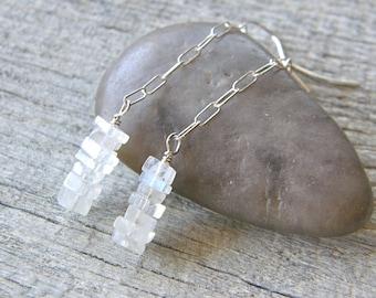 Minimalist Moonstone Earrings, Simple Gemstone Drop Earrings, White Dangle Earrings, Bridal Earrings