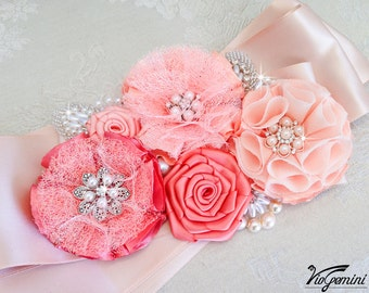 Rose Gold Bridal sash - Blush Wedding Sash Belt, Coral Peach Wedding Belt, Flower Bridal Sash Belt, Custom Color Sash