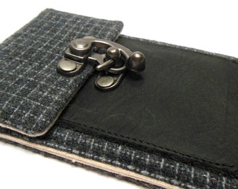 iPhone 5 / 6 / 6 Plus wallet  - gray vintage wool
