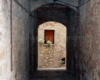 Rustic Photography, Italian Window, Brown Wall Art, Tuscany Art, Stone Wall Photo, Italian Photography, Italy Decor, Architecture Print