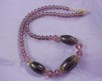 Amethyst Crystals ~ Art Glass Large Beads ~ Genuine Amethyst  Hand Made Choker