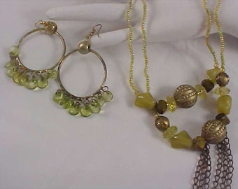 Three Pc. Set - Green Lucite Stones ~ GP Beads ~ Two Necklace ~ Earrings