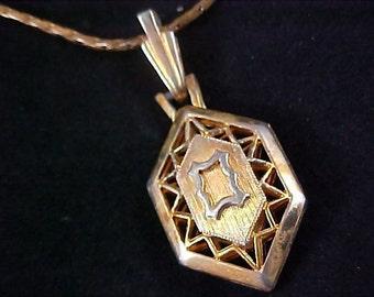 Victorian ~ Diamond Shaped open Gold Plate Pendant & Chain