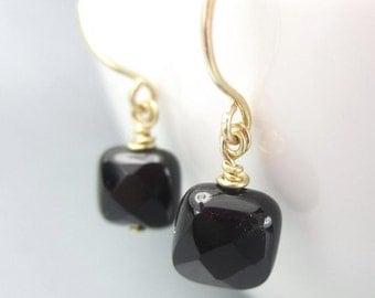 Black Dangle Earrings, Gold Filled, Small Onyx Earrings, Square Black Gemstone