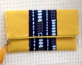 Yellow foldover Clutch Bag