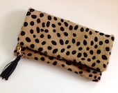 Leopard Print Fold Over Clutch, Cheetah Calf Hair Foldover Clutch with Leather Tassel