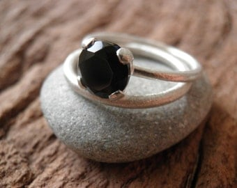Engagement Rings Set, Stacking Rings, Vintage Inspired Classic Black Onyx Ring set, Sterling Silver Rings, Bridal Jewelry