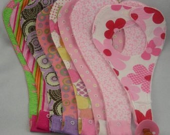 Pacifier Bib Darling Designer Fabric Binky Bibs for Girls Custom Made Baby Gifts at Miss Priss Baby Boutique