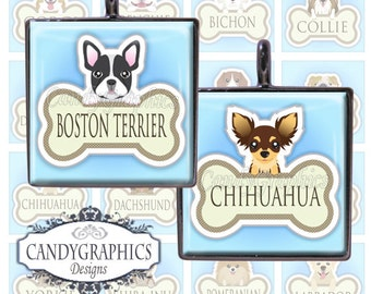 Cartoon Dog Breeds - 1x1 inches Digital Collage Sheet Great for scrabble tile pendants - Buy 2 Get One Free