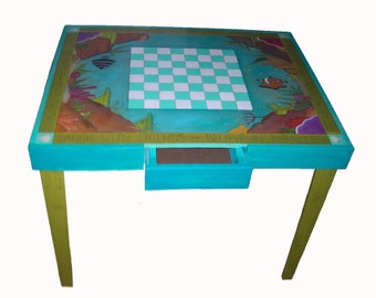 WHIMSICAL FURNITURE - Games table - Parchesi table - checkerboard table - chess table - funky table - custom table - painted furniture -