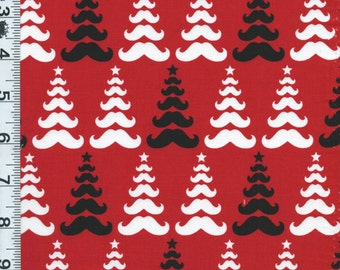 Fabric Kaufman Christmas Merry Mustaches Christmas Trees Black white on red 14528 3 BTY