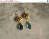 ON SALE SPECIAL Price Gold Vermeille Earrings with big Crystal Drops in Blue