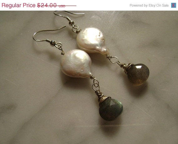 ON SALE SALE Sale Sale  Coin Pearls and Labradorite
