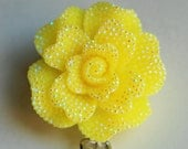 Yellow Open Rose ID Badge Reel - RN ID Badge Holder - Zipperedheart