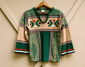 70s vintage Boho Southwestern Design Space Dye Bell Sleeved Acrylic Knit Sweater